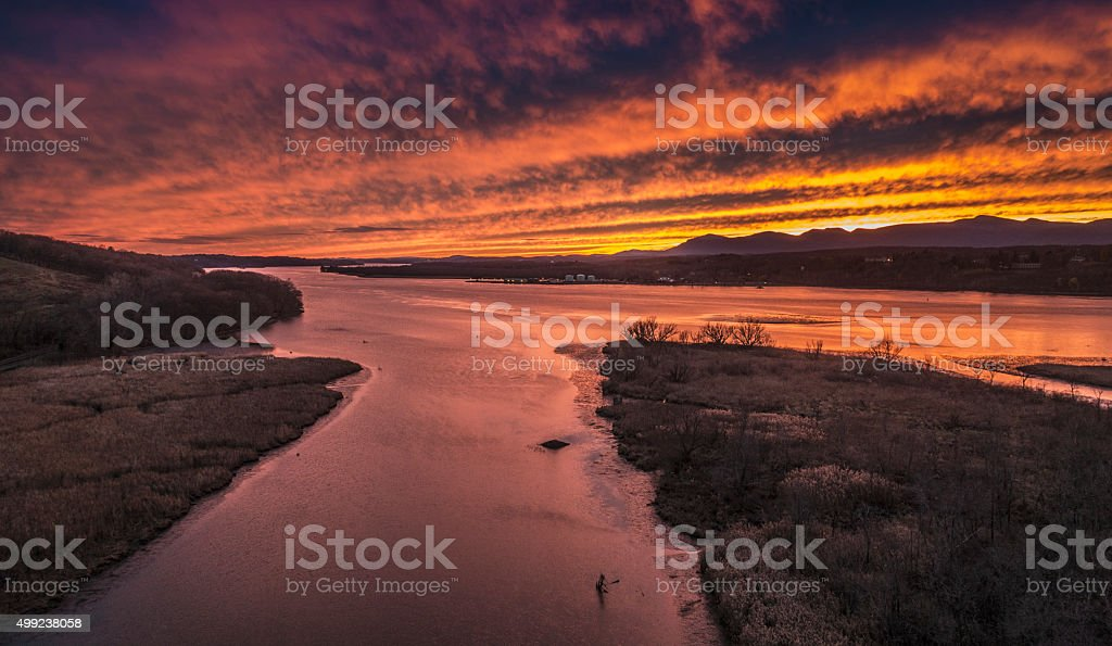 Hudson River sunset from Rip Van Winkle Bridge stock photo