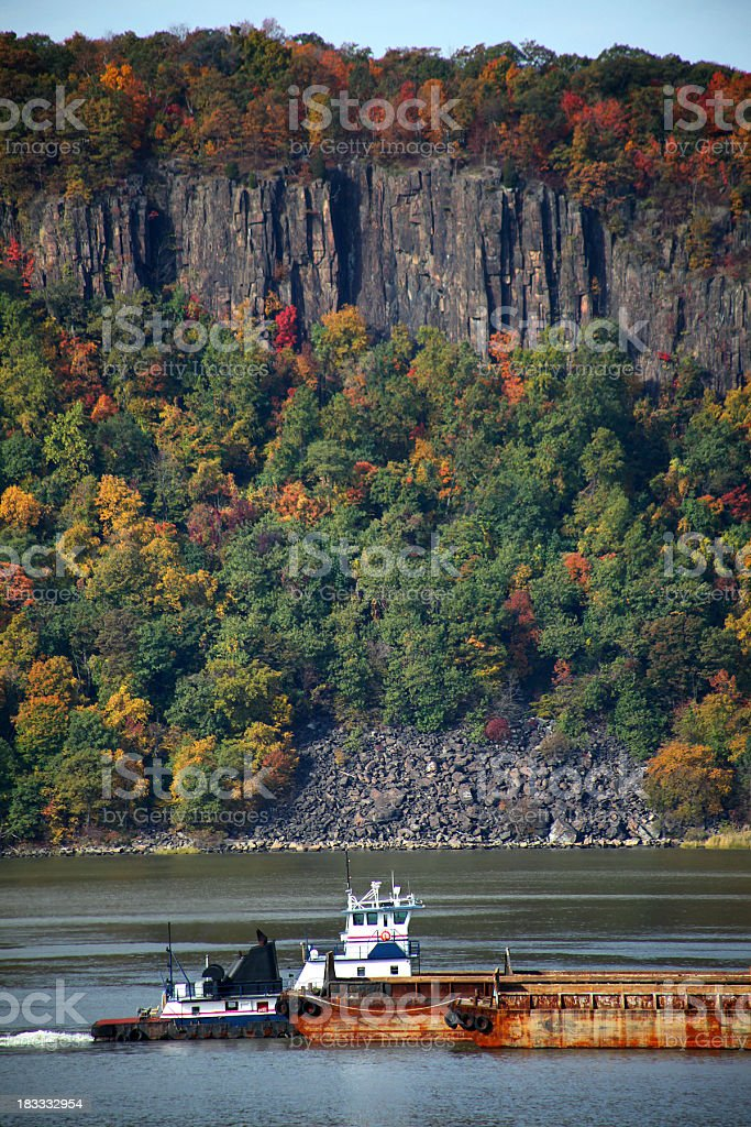 Hudson River Tugboat and Barge stock photo