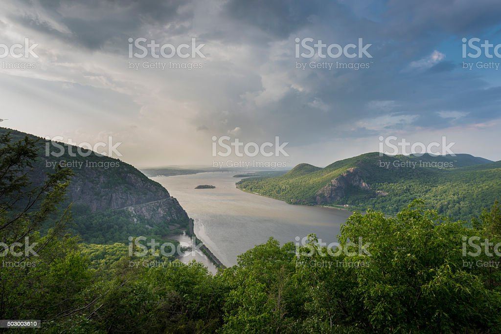 Hudson River with Storm King and Breakneck Ridge Mountains stock photo