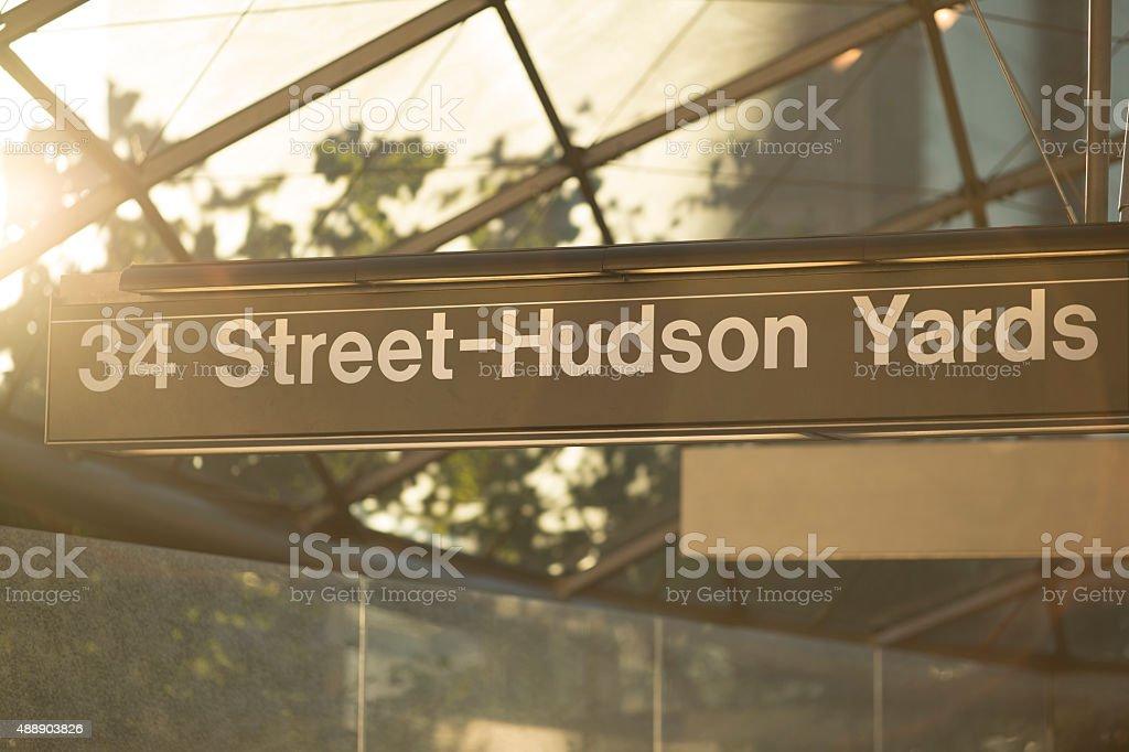 Hudson Yards 34 Street Subway Station Entrance stock photo