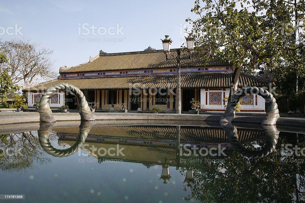 Hue Citadel building reflected in good luck water stock photo