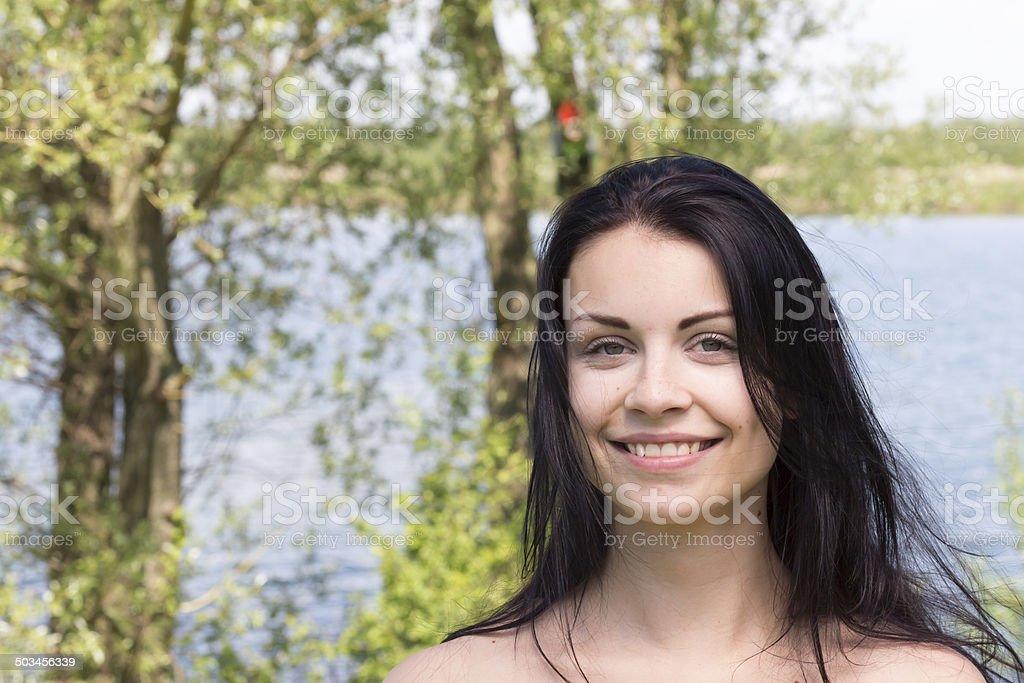 Huebsches Maedchen am See stock photo