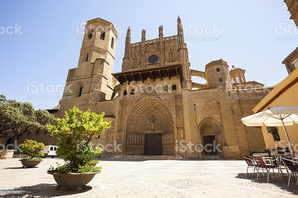 Huesca Cathedral in sunny day. Aragon stock photo