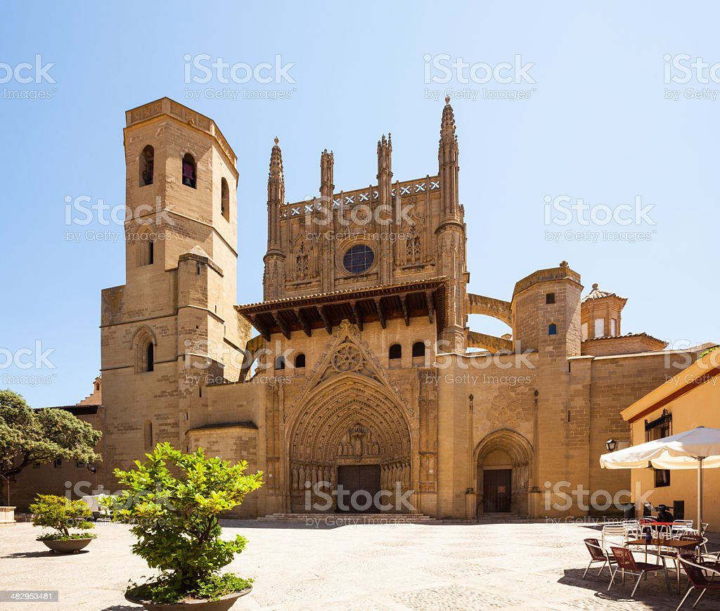 Huesca Cathedral in sunny day stock photo