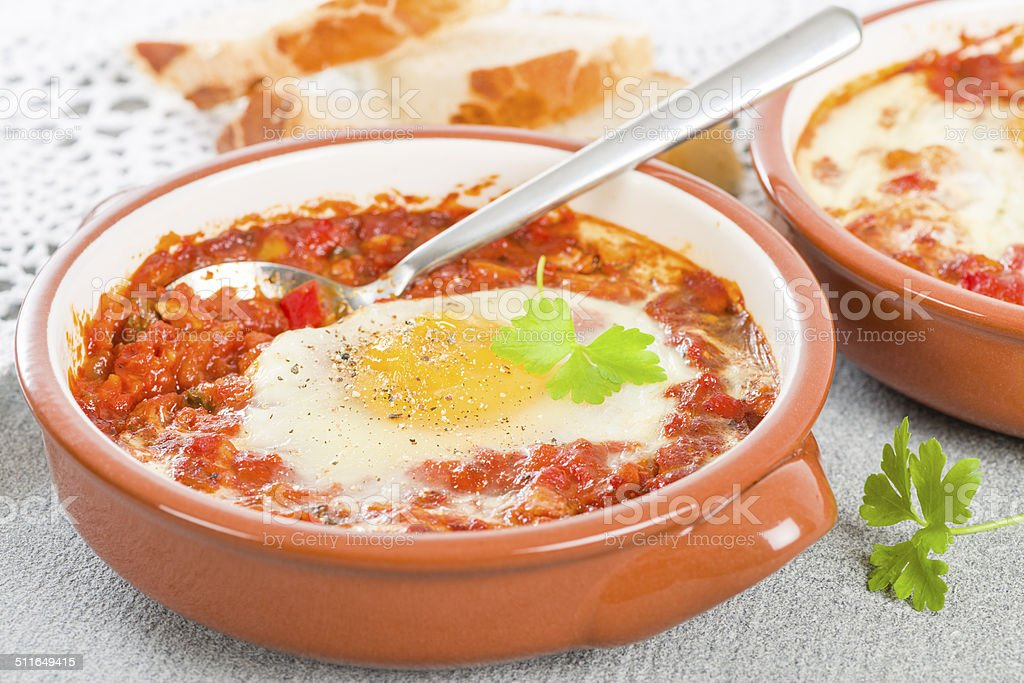 Huevos a la Flamenca (Flamenco Eggs) stock photo