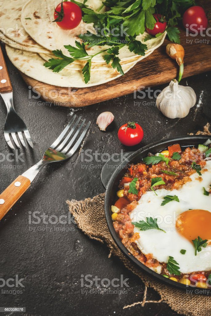 Huevos rancheros, Mexican food stock photo