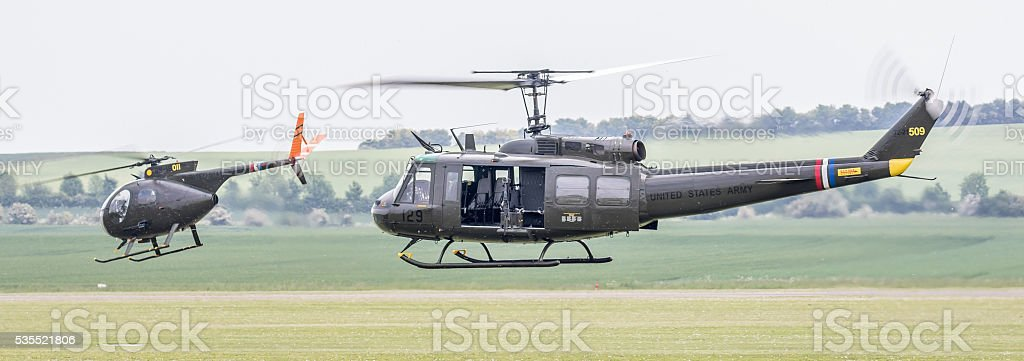 Huey & Cayuse - Vietnam War vintage helicopter stock photo