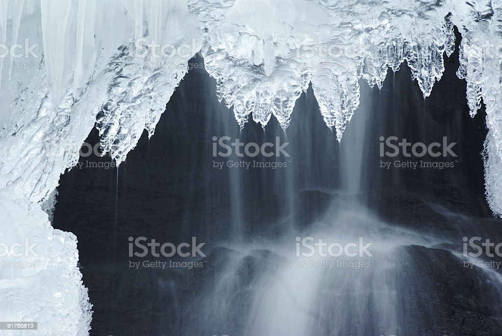 A huge amount of ice and icicles hanging down royalty-free stock photo