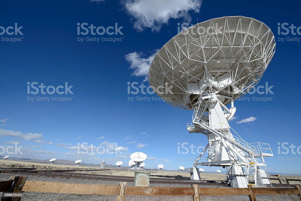 Huge antenna dish at Very Large Array stock photo