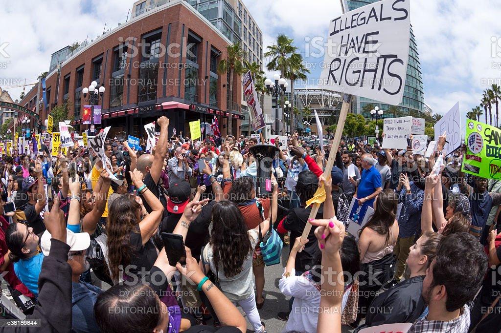 Huge anti-Trump rally in San Diego stock photo