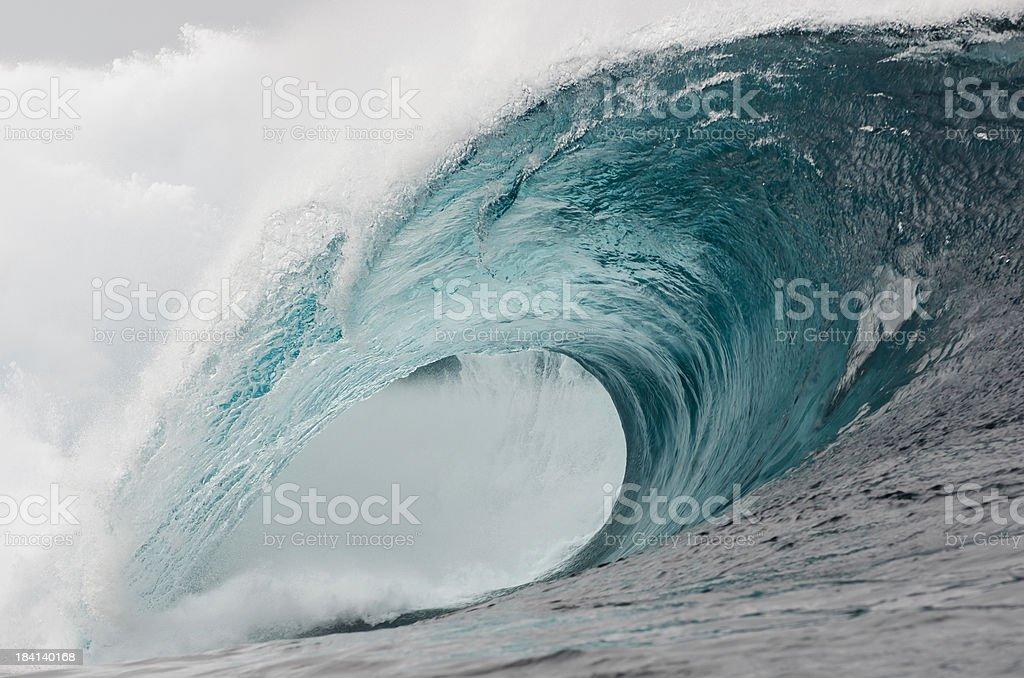 Huge Aqua Wave royalty-free stock photo