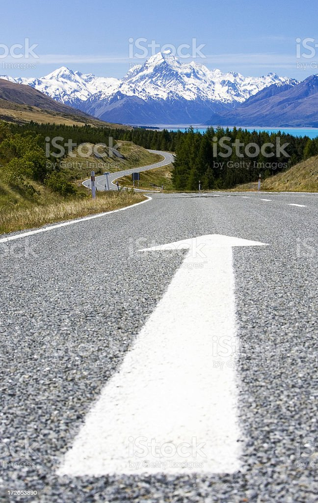 Huge Arrow on Highway Points Toward Mount Cook royalty-free stock photo
