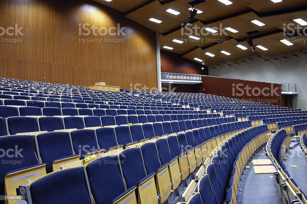 huge auditorium, blue velvet chairs, university hamburg.