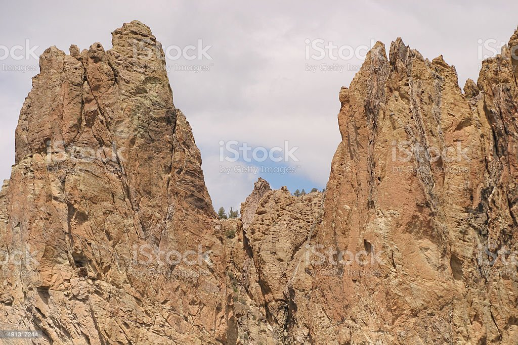 Huge Basalt Crags at Smith Rock State Park stock photo