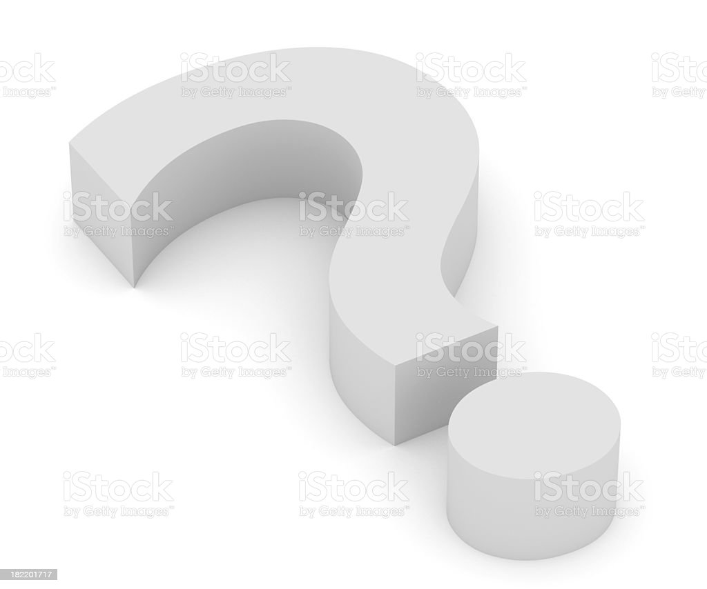Huge block of a white question mark symbol on white royalty-free stock photo