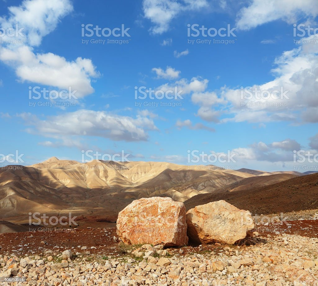 Huge boulders along highway stock photo