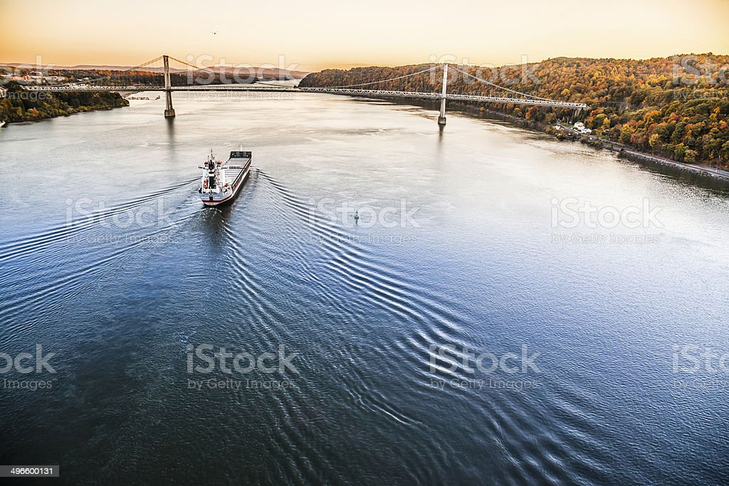Huge cargo ship at the Hudson River royalty-free stock photo