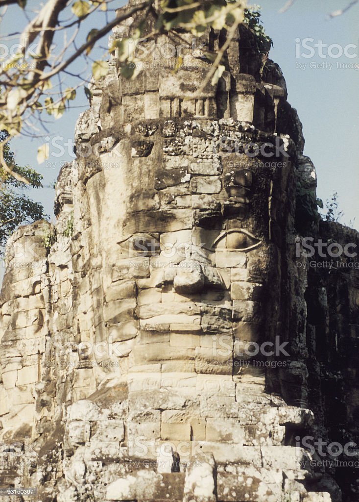 Huge carved face stock photo