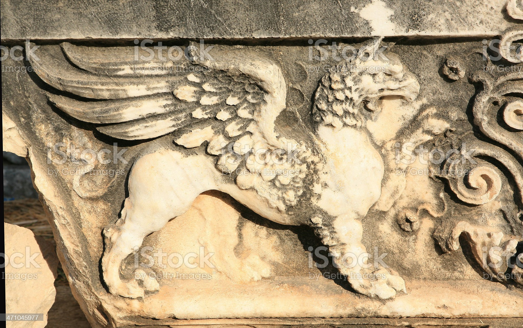 Huge carved 'Griffin' off The Temple of Apollo at Didyma royalty-free stock photo