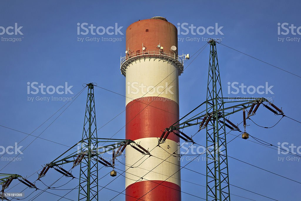 Huge chimney and power lines royalty-free stock photo