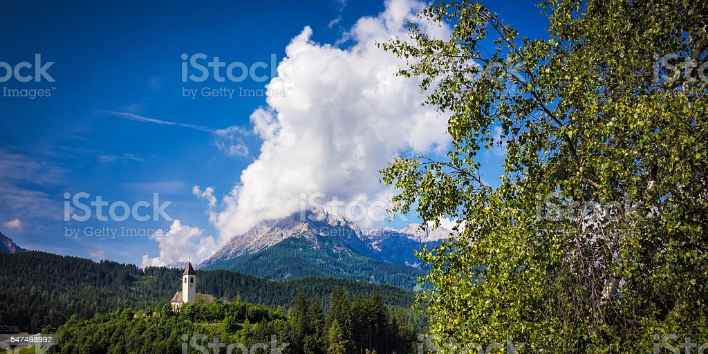 Huge cloud over the mountains stock photo
