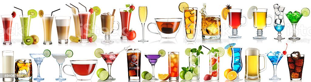 Huge collection of drinks stock photo