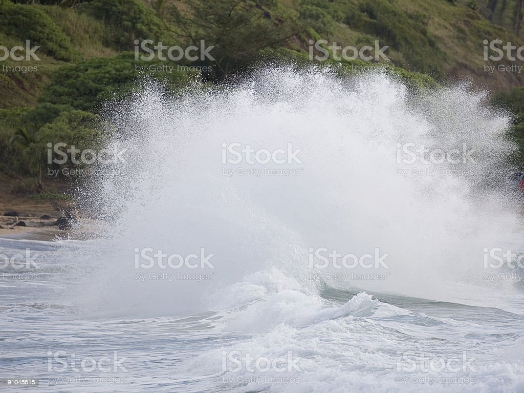 Huge contorted wave exploding, bluff background royalty-free stock photo