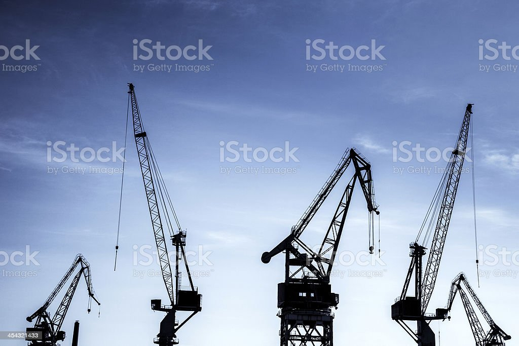 Huge Cranes in the industrial port royalty-free stock photo