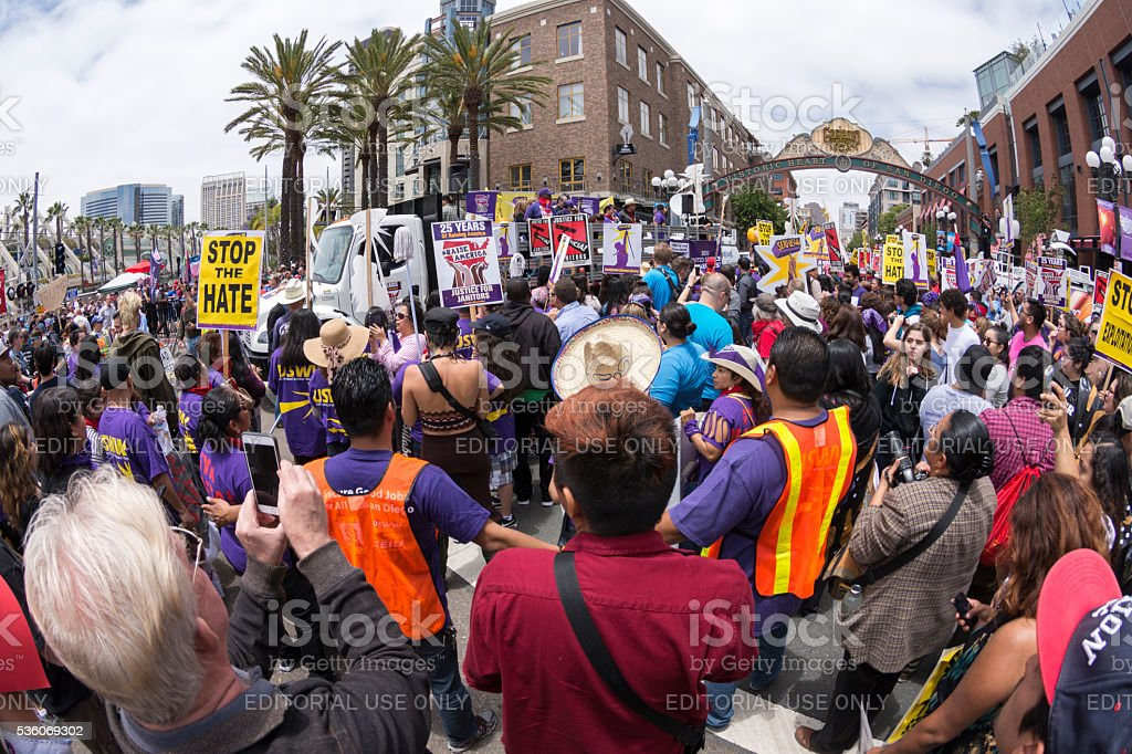 Huge crowd of anti-Trump protesters stock photo