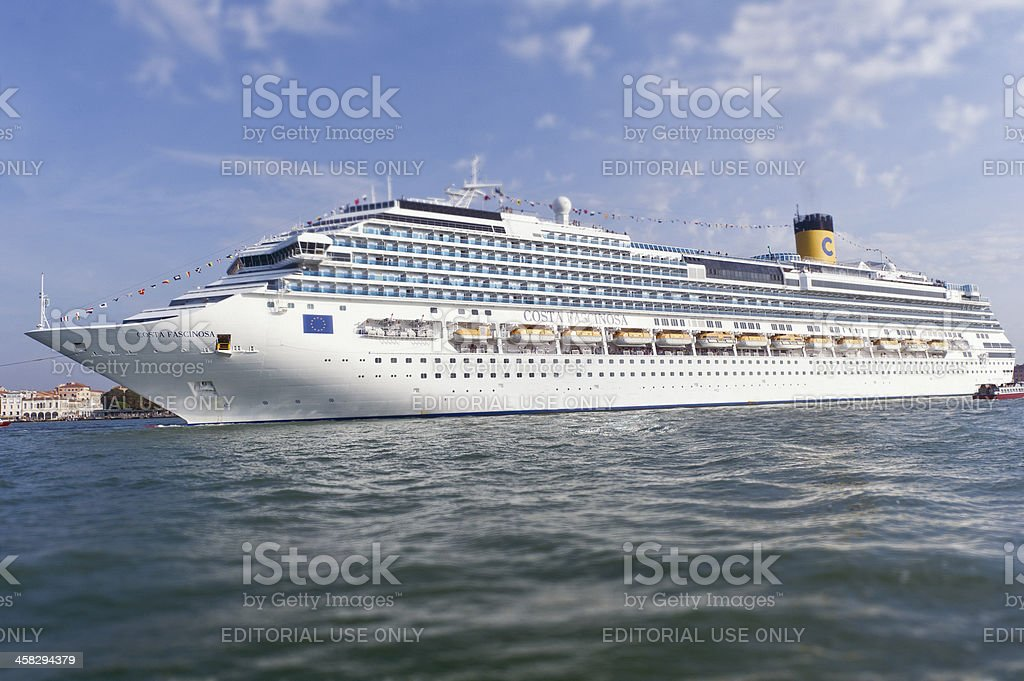 Huge cruise ship in Venice, Italy stock photo