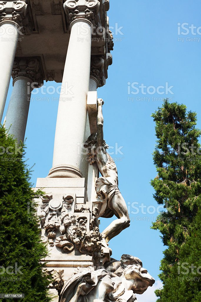 Huge crypt with Jesus at cross on Cimitero Monumentale stock photo