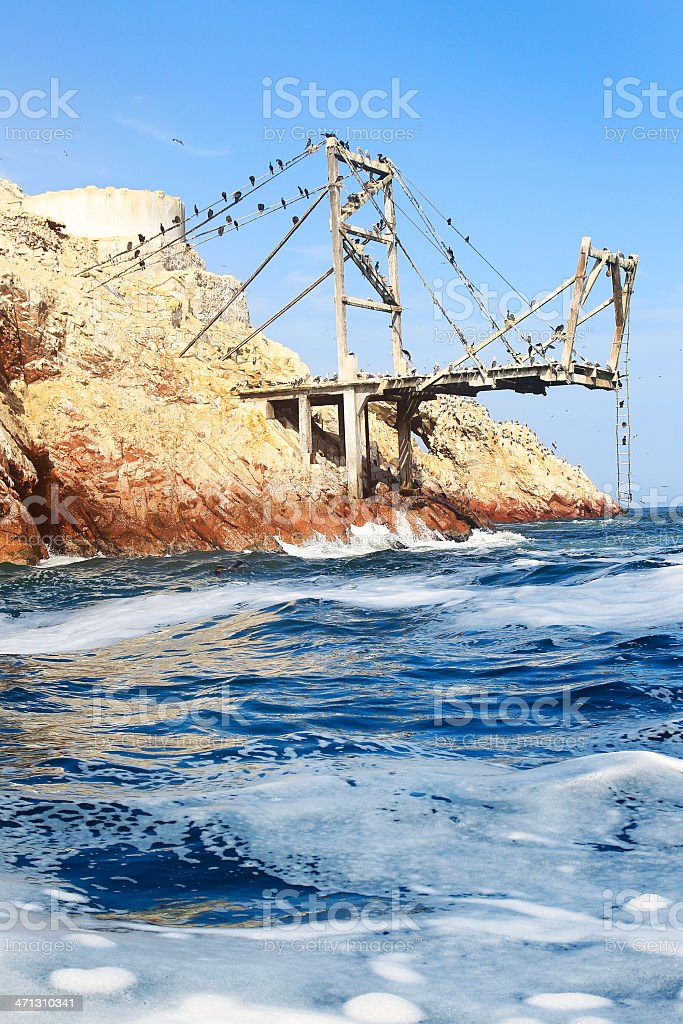 Huge Dock on Ballestas Islands, Peru stock photo