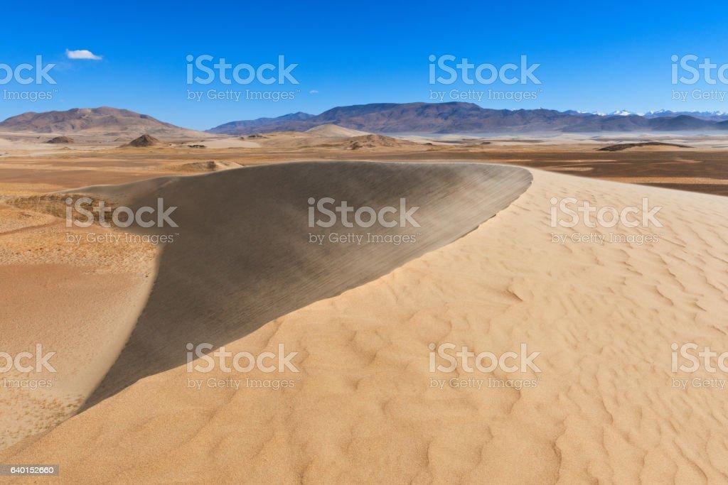 Huge dune in mainstream of Brahmaputra in Tibet. stock photo