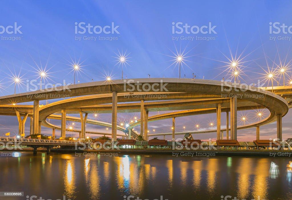Huge elevated crossroad (Bhumibol bridge stock photo