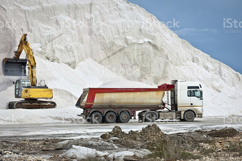 Huge Excavator and Truck in Salt Mine, Italy stock photo