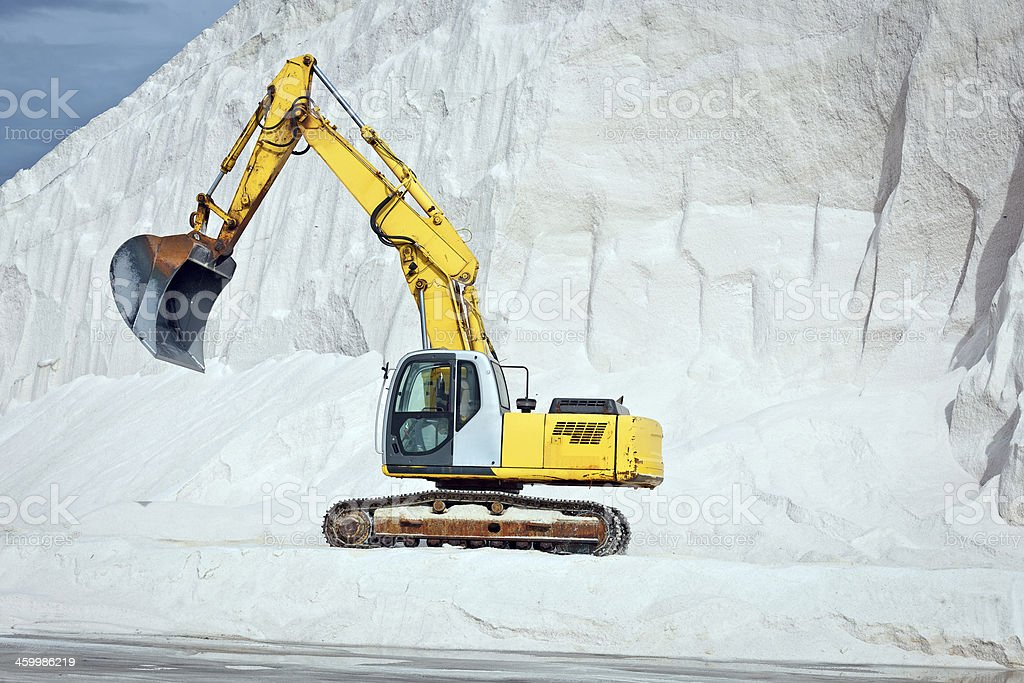 Huge Excavator in Salt Mine, Puglia, Italy stock photo