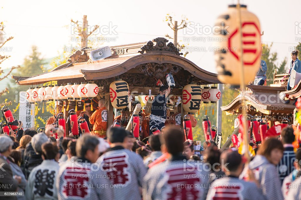 Huge festival float started parading - Yachimata Shrine Festival 2016 stock photo