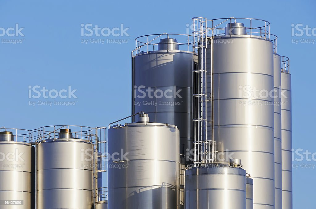 Huge fire proof stainless steel storage tanks stock photo