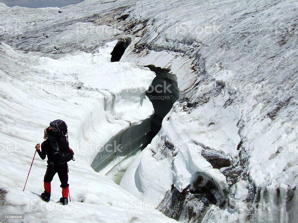 Huge glacier crevasse. royalty-free stock photo