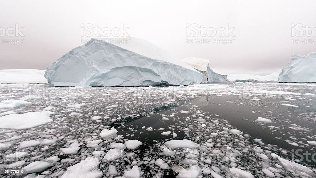 Huge glaciers are on the arctic ocean in Ilulissat, Greenland stock photo