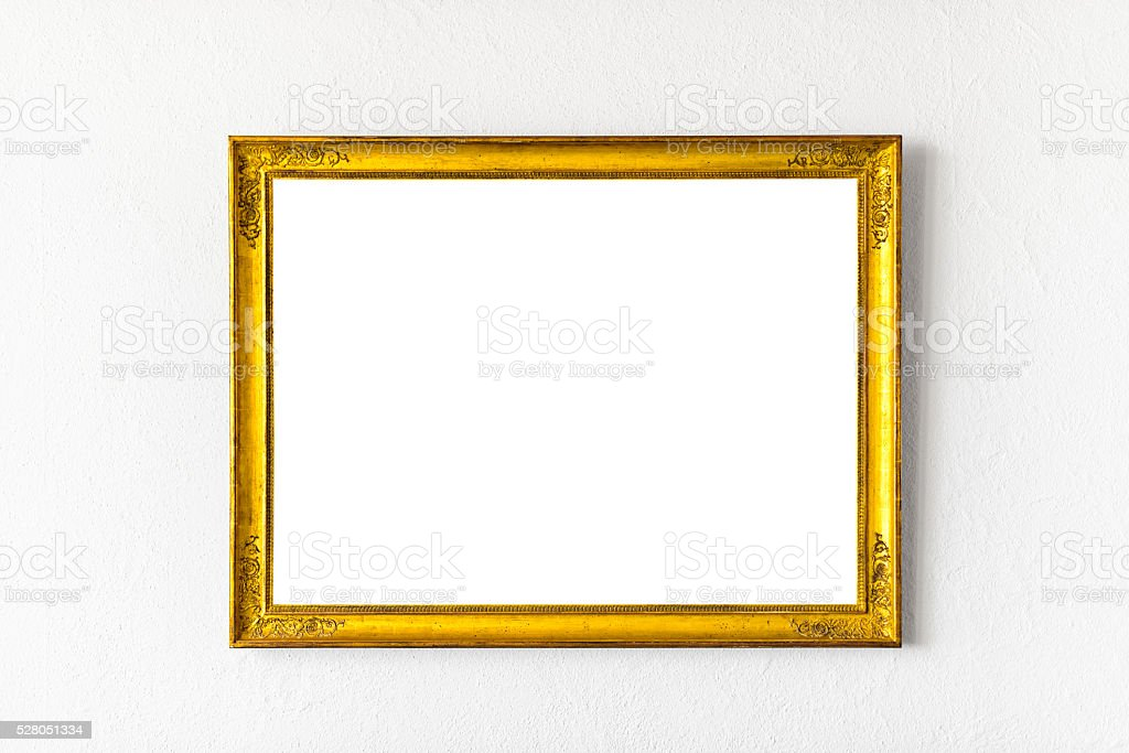 huge golden picture frame with clipping path included stock photo