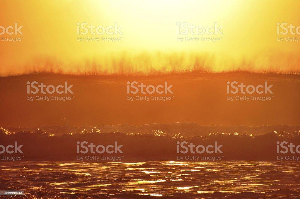 Huge Golden wave breaking royalty-free stock photo
