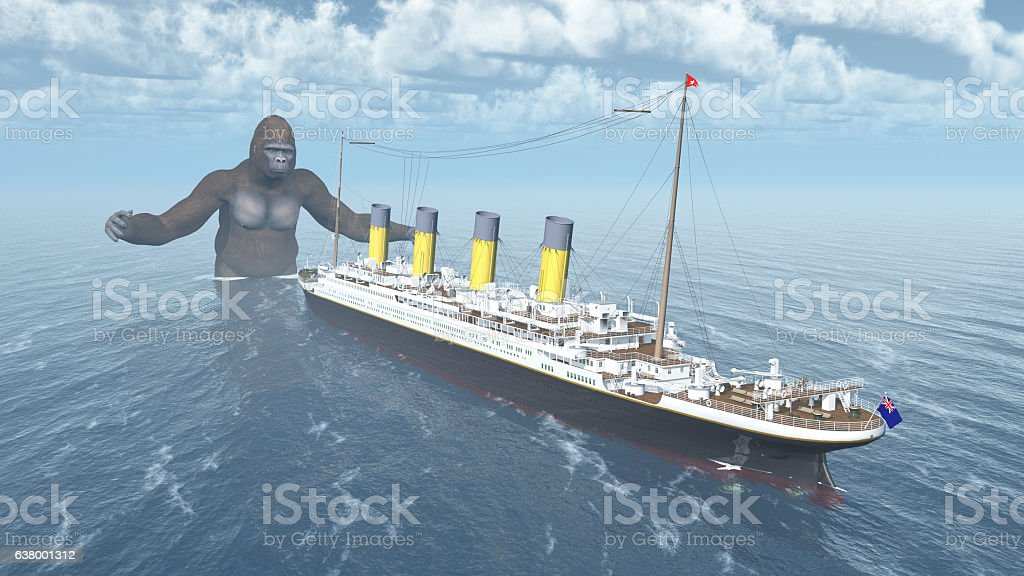 Huge gorilla and ocean liner vector art illustration