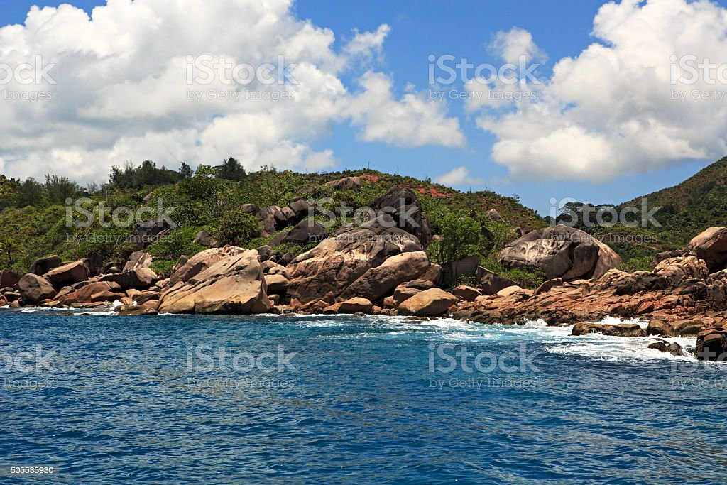 Huge granite boulders on Praslin Island in Indian Ocean stock photo