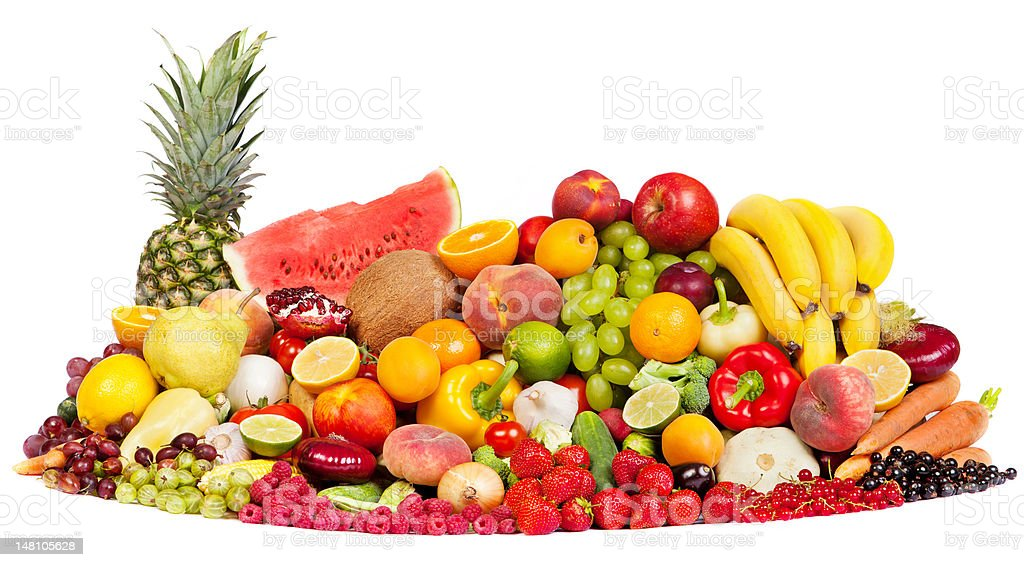 Huge group of fresh vegetables and fruits royalty-free stock photo