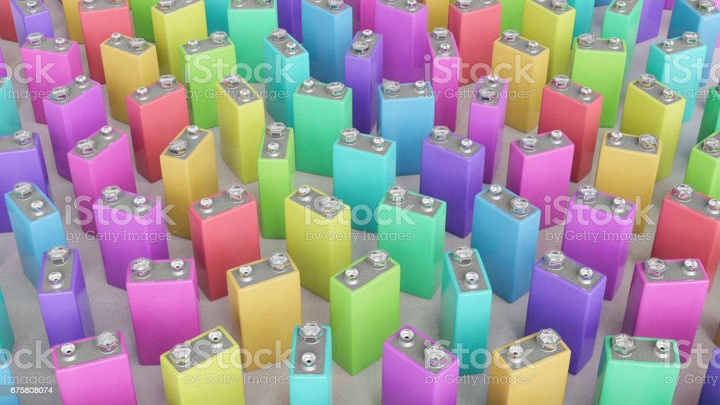 Huge Group of Upstanding 9volt Batteries in Various Colors stock photo