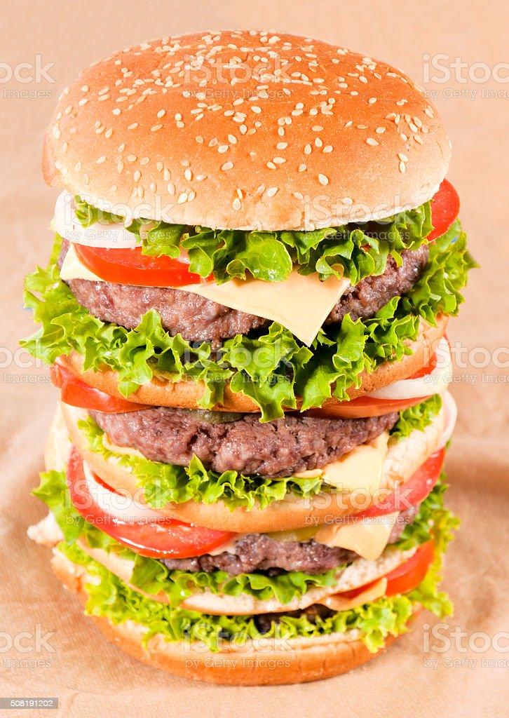 Huge hamburger stock photo