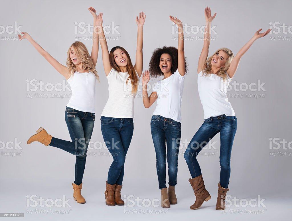 Huge happiness of multi ethnic women stock photo