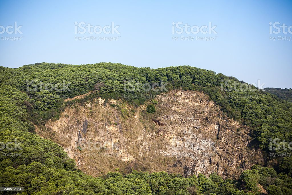 Huge hollow in mountain stock photo