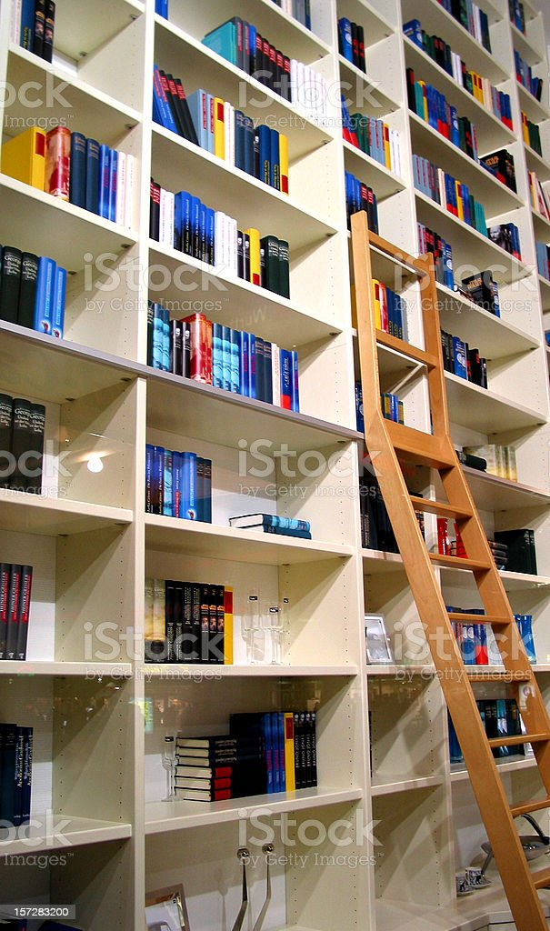 Huge home library going up to the ceiling stock photo